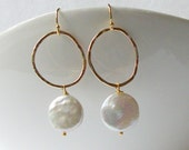 Coin Pearl Dangle Earrings, Pearl Earrings, Bridal Jewelry