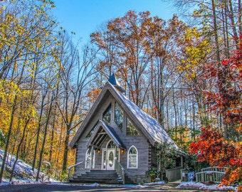 Tennessee Mountain Wedding Chapel 1 Fine Art Print - Travel, Scenic, Landscape, Rural, Nature, Home Decor, Zen