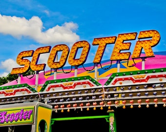Neon Scooter Ride Sign Fine Art Print- Carnival Art, County Fair, Nursery Decor, Home Decor, Children, Baby, Kids