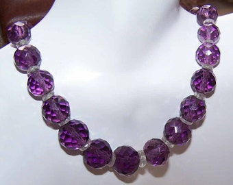 ART DECO,Art Deco Necklace,Art Deco Beads,Faceted,Amethyst Crystal,Amethyst Beads,Sterling Silver,Chain,Amethyst Necklace,Amethyst Beads