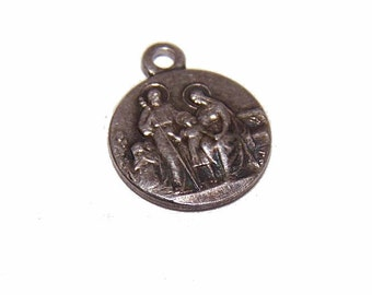 Vintage Silverplate Religious Medal/Charm - The Holy Family of Nazareth!