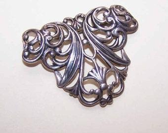 Vintage STERLING SILVER Filigree-Like Curlicue Pin/Brooch