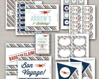 Printable Retro Airplane Party Collection - DIY