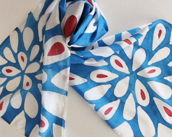 Hand Painted Silk Scarf - Handpainted Scarves Royal Blue Sapphire White Cherry Red Flower Flowers Daisy Daisies Patriotic USA