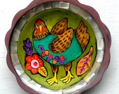 Chicken Folk Art Painting on Up Cycled Tray