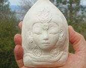Porcelain Quan Yin - White Tara Wall Hanging - Art Object Sculpture - Handmade Pottery Face - Female Buddha