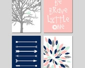 Arrow Flower Nursery TRIBAL Baby GIRL Nursery Art Pink Mint Navy - Birds in a Tree, Be Brave Little One Quote - Set of Four Prints