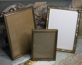 Vintage Gold tone PICTURE FRAMES (3) Glass Front- Metal Frame Pair- Mother of Pearl inlaid