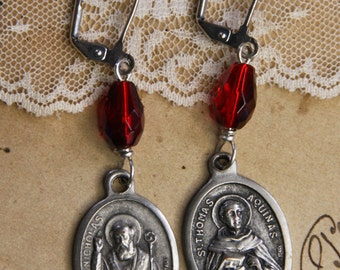 Vintage RELIGIOUS MEDAL Earrings- Pray for Us- St. Thomas- St. Nicholas- ITALY