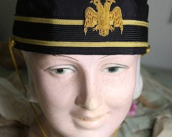 Mason HAT in Dark Blue & Gold- Military Style Hat with Eagle Emblem- Vintage Hat- Costume Uniform Hat