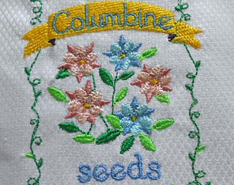 Pastel COLUMBINE TEA TOWEL Spring Pink Blue & Green Seed Packet Embroidery Green Scroll Border, New Sparkling White Egyptian Cotton Moms Day