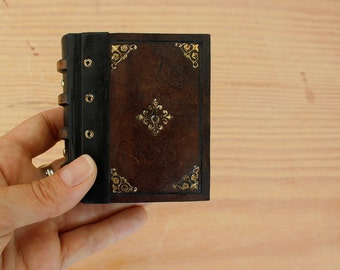 Little Magic Book, Miniature Journal, Brown Vintage Leather with Gold Decoration