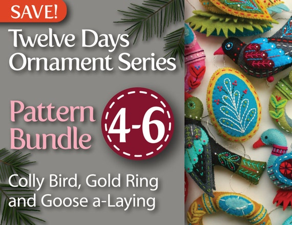 Twelve Days Series 4-6 Pattern Bundle: Colly Bird, Gold Ring, and Goose a-Laying