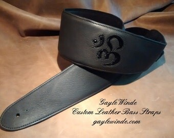 """Custom Black Leather Guitar or Bass Strap w/Inlaid Black Lizard Om Symbol / 3"""" or 3.5"""" Width / Fully Padded / Leather Lined /Ergonomic Fit"""