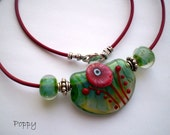 POPPY ~ Lampwork and Greek Leather Necklace