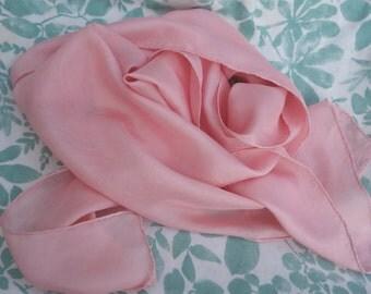 """Silk Scarf Pink Madder Dyed Silk Scarf Natural Dye Light Rose Rubia Pink Habotai Plant Dyed 10 1/2"""" x 56"""" Natural Dye Silk Scarf"""