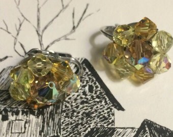 Vintage  Cluster Silver tone Yellow Glass Aurora Borealis Beaded Clip on earrings Wedding Bridal