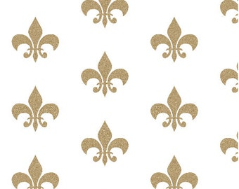 Gold Glitter Fleur De Lis Fabric By Charlotte Winter - Fleur De Lis Fabric with Spoonflower - by the yard
