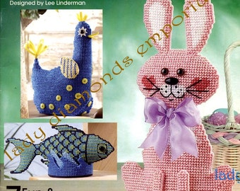 Whimsical Weights, 7 Adorable Plastic Canvas Designs For Door Stops, Desktop Paper Weights, Book Ends, Home Décor & Gifts