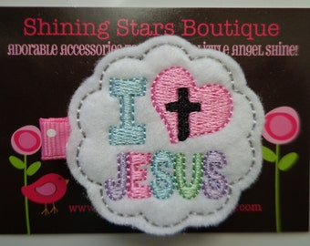 Felt Clips - Pink, Aqua Blue, Lavender, And Green I Heart Jesus Holiday Embroidered Felt Hair Clippie - Accessories For Girls