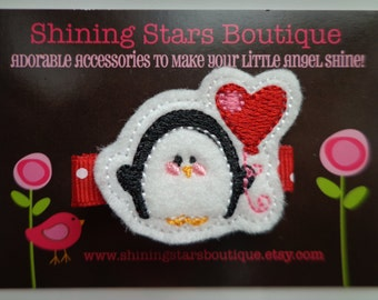 Hair Accessories - Felt Hair Clips - Black And White Embroidered Felt Penguin With A Red Heart Shaped Balloon Hair Clippie For Girls
