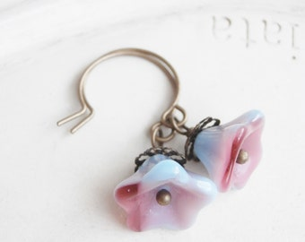 Raspberry Bloom - Handmade Czech Glass Flower Earrings