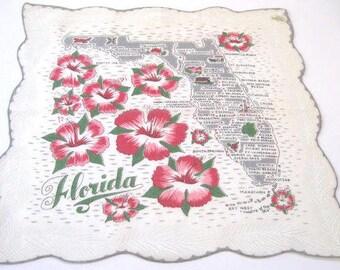 Vintage Florida handkerchief hankie 1950s Mid Century gray hibiscus flowers mint with original tag MWT souvenir Floridiana kitsch