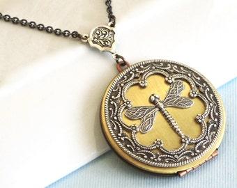 Large Dragonfly Locket Necklace - Brass Locket, Dragonfly Jewelry, Nature Jewelry, Garden Jewelry, Mixed Metal