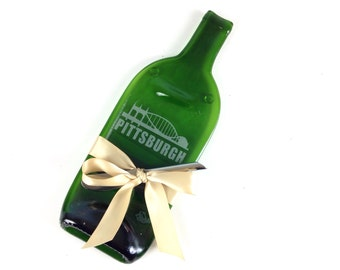 Pittsburgh, Etched Green Wine Bottle Cheese Tray, by Mitchell Glassworks, Ships Worldwide, Hostess Gift