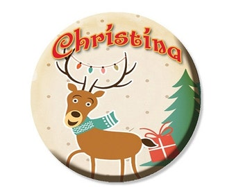 """30% OFF - Personalized Name Reindeer Pocket Mirror, Magnet or Pinback Button - Party Favors 2.25"""" MR472"""