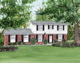 Realtor Closing Gift, House Portrait, Commissioned Watercolor Painting by Suzanne Churchill, Perfect Housewarming or New Home Owner Gift