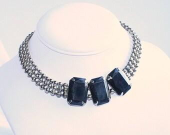 Vintage Black Glass Cabochon Choker Ball Chain Necklace Vintage Silvertone Chunky Black Diamond Cabochons Adjustable