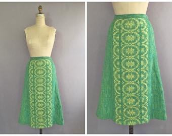 70s woven green skirt • vintage woven skirt