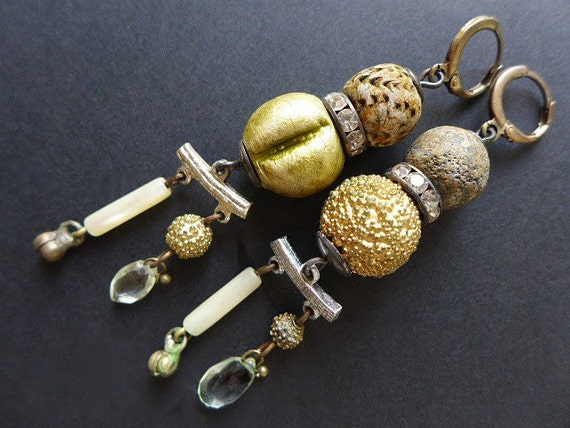 Grandmother's Martini.  Rustic and refined assemblage earrings in champagne.