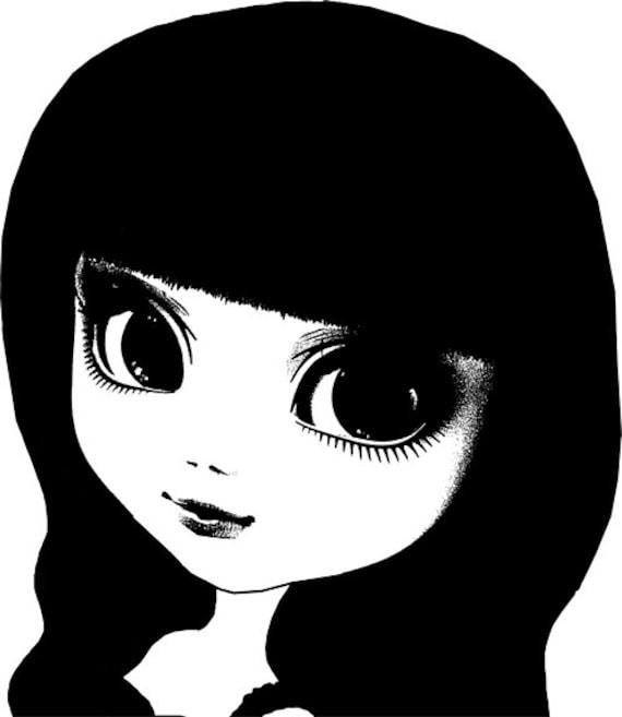 big eye doll face clipart png clip art Digital Image Download digi stamp digital stamp toy graphics art printables black and white art