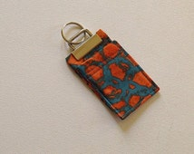 Chapstick Fabric Key Chain Orange and Teal Blue Fabric, Key Fob, Chap Stick Cozy