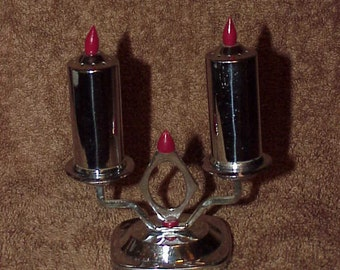 Vintage--Chrome--Salt & Pepper Shaker Set--Look Like Candles And Candelabra--Bakelite Flames