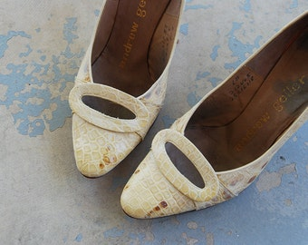 CLEARANCE vintage 50s High Heels - Cream Reptile Lizard Skin Leather Stilettos 1950s Shoes Sz 6 37
