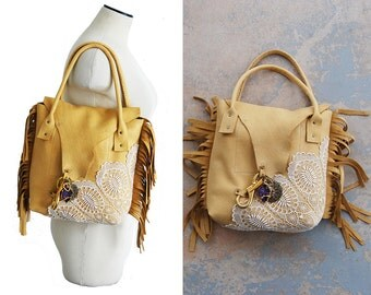 Boho Leather Fringe Bag - Bohemian Leather and Lace Purse with Amethyst Crystal Druzy