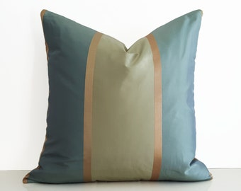 Sea Green Blue Pillow, Aqua Blue Striped Pillow Covers, Gold Copper Metallic Striped Pillow, Luxury Silk Pillows, Gift for HER , 20x20