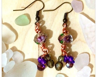 Swarovski Crystal & Copper Earrings