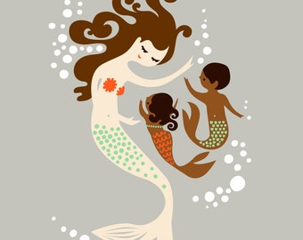 "8X10"" mermaid mother with baby girl and boy. giclee print on fine art paper. taupe, brunette, chocolate skin."