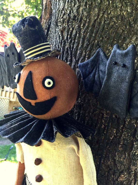 Primitive Pumpkin Man in Halloween Stocking Handmade