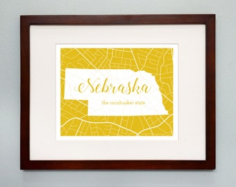 Nebraska State Map Print - 8x10 Wall Art - Nebraska State Nickname - Typography - Housewarming Gift