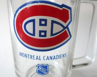Vintage Montreal Canadiens Hockey NHL Beer Mug Clear Glass Stein Vintage Matte Rare Team Logo