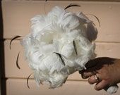 SALE Medium All Peony Feather Bridal Bouquet with black accents and matching fascinator - ready to ship