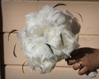 Medium All Peony Feather Bridal Bouquet with black accents and matching fascinator - ready to ship