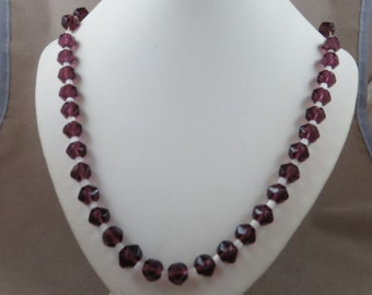 Vintage Mardi Gras Purple Glass Bead Necklace with Tag made in Czechoslovakia
