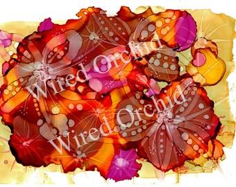 Tropical Burst Red_1 Laser Copy of Original Alcohol Ink Artwork / Red, Brown, Gold, Hot Pink Abstract Design