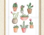 Watercolor Succulent print/succulents/watercolor print/neutral wall decor/